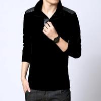 Male stand collar dark grey thickening sweater sweater basic shirt thickening autumn and winter male