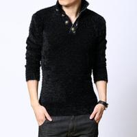Fashion thickening stand collar dark grey sweater basic shirt sweater thickening autumn and winter men's clothing