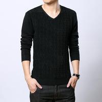 Men long-sleeve V-neck black long-sleeve sweater basic sweater shirt men's clothing spring