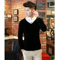 Men's clothing male V-neck sweater plush sweater basic shirt male autumn and winter