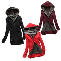 Free shipping New Fashion Women's Casual Thicken Hoodie Coat top Outerwear Jacket Black, Red, Wine Red