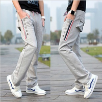 Autumn men's 100% cotton casual knitted health sports harem outdoors pants