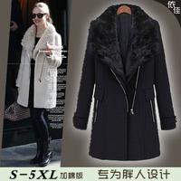 2013 women's fashion plus size woolen outerwear mm medium-long thickening woolen overcoat