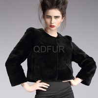 Luxury 2013 Winter  Women's 100% Real Rex Rabbit Fur Jacket O-Collar Famale Short Outwear Big Size QD29222