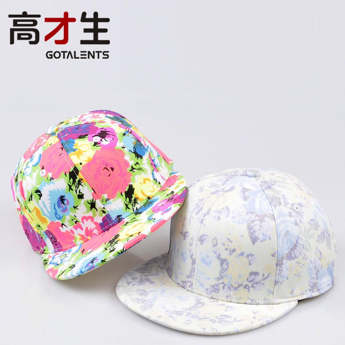 Hat female summer street fashion flower hat flat-brimmed hat hip-hop(China (Mainland))