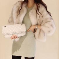Fashion elegant design short fur fur poncho plus size coat faux fur coat mink coats faux fur poncho