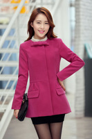 2013 new winter commuter round neck long section thick woolen jacket Slim woolen coat female sweet lady