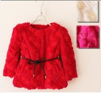 2013 winter baby outerwear baby rose+velvet thermal cotton-padded overcoat wholesale girls outerwear children winter clothing