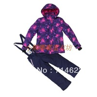 Small medium-large female child outdoor thickening coral fleece lining thermal ski suit set cotton-padded jacket trousers
