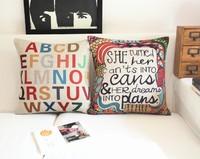 Nordic  Color Exotic Letter combinations Cotton Pillow Cushion cover IKEA Car Home Decor sofa cushions 45*45cm 2PCS/LOT Pillows
