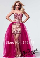 2014 New Free Shipping Wholesale Tulle Satin Beading Sweetheart Hi-Lo Formal Prom Dresses