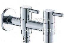Envío gratis venta al por mayor y al por menor lavadora grifo cromado Mop piscina Tap Water Tap Dual caños(China (Mainland))
