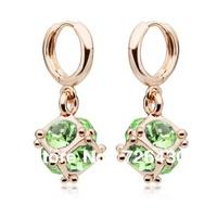 Free Shipping!!!Finest Cubic Austrian Crystal Dangle Earrings 8mm