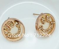 Cute Smiling Face Gold Plated Diamond Stud Earrings Manufacture Wholesale