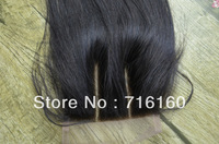 virgin silk straight brazilian hair 3 way part lace base closure bleached knots,4''*4'' queen remy lace front closure