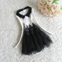 New Arrival 2013 Girl's Dress,Long-sleeve Dress,Turn-down Collar,Girl Tulle Dress,Princess Dress,4 Pieces/lot,Free Shipping
