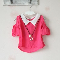 Fashion!!!2013 Children's Chiffon T-shirt,Girl's Strapless Sleeve Laciness T-shirt,Metal Pendant,5 Pieces/lot,Free Shipping