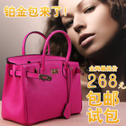 Free Shipping 2013 women's fashion genuine leather handbag first layer of cowhide birkin35 platinum bag lychee cowhide(China (Mainland))
