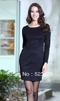 Free shipping,Women's new fashion long-sleeve plus velvet one-piece dress elegant plus size slim hip dress, slim basic skirt