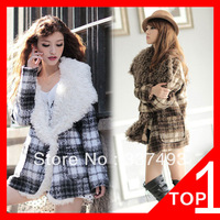 Britain In Europe And The Wind Coat Sheep Han Guomao Brought Big Grid Cloth Coat Lapels