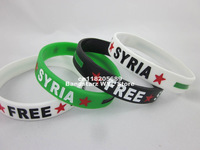 Free shipping! Syria wristband, Free Syria silicon bracelet, Syrian Revolution independence Flag, 3colours, MOQ: 1pc