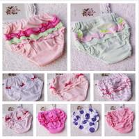 Free shipping Child 100% cotton panties shorts bread pants briefs ruffle hem laciness