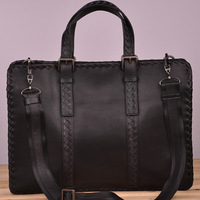 Male knitted genuine leather briefcase laptop bag commercial horizontal large capacity handbag messenger bag