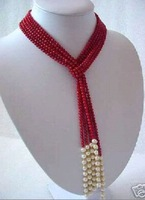 New Exquisite White Freshwater Pearl Red coral Necklace Exquisite White Freshwater Pearl Red coral Necklace
