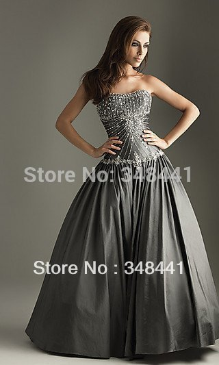 Stock Bridal gown A-line Picture color Taffeta Floor length Appliques Wedding dress size 2-4-6-8-10-12(China (Mainland))