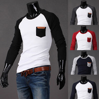 2013 New Hot Sale Patchwork Slim Black/red/grey Long Sleeve Men's T shirt With Pocket,Mens Tees Tops,Free Shipping,R1373