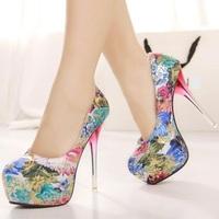 flowers printed ladies wedding shoes woman platform pumps fashion girls spring sexy Crystal high heels women shoes SX31725