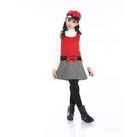 2013 patchwork bow female child autumn and winter woolen one-piece dress female child thermal dresses cotton skirt