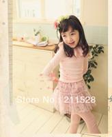 Autumn Cotton t shirts children long sleeve Lace collar shirt grils clothing 5pcs/lot 610136J