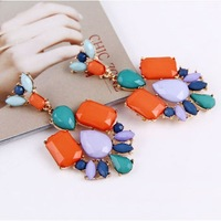 2014 New Fashion New Arrived Fashion Atmosphere Colorful Imitation Gem Geometric Earring E1030