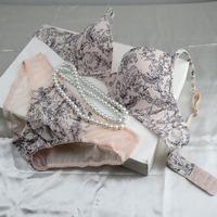 Plus Size Bra Set Sexy and Charming VS Bra and Brief Set 3/4 Cup Elegant Print Bra and Panties Set Women Brassiere Underwear