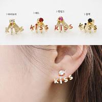 Hearts . accessories rhinestone kiss cute stud earring personalized classic letter earrings