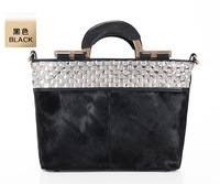 brand quality fashion designer leopard black genuine leather fur women's luxury horse hair diamante handbag shoulder bag tote