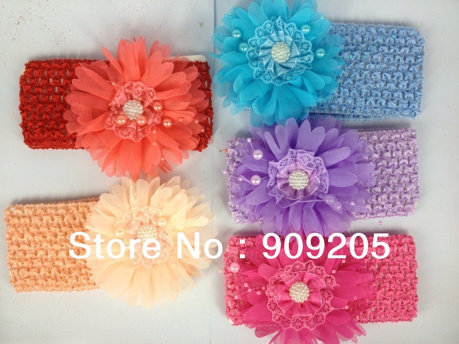 Free Shipping 12 pcs/ lot 12 Colors Mixed Peony Flower Headband Baby Hair Accessary,HW019(China (Mainland))