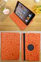 Free Shipping HIMA Faerie Floral PU leather sheath cover case For Apple ipad 2/3/4 orange color