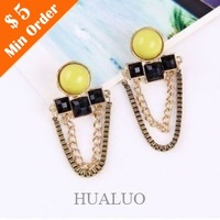 2014 New Arrived Fashion Vintage Gem Tassel Chain Personality Earring E1031