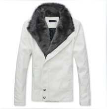 new fashion men's hot sale slim fur collar warm leather coat for winter and autumn(China (Mainland))