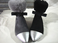 Bow pointed toe velvet color block decoration rex rabbit hair luxury zipper back ankle-length boots flat heel boots snow cotton