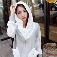 2013 Autumn Korean Women Lace Spliced Hooded Sweatshirt Women Long-sleeve Casual Thin Sweater Outerwear