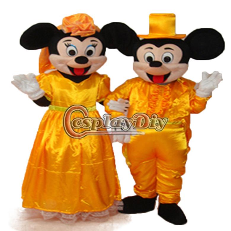 2013 Hot Sale New Arrival natal Minnie Mouse de casamento dourado edição 2 do traje da mascote para adulto(China (Mainland))