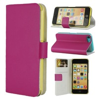 1 Piece Free Shipping PU Leather Material Protective Case Cover Stand with Clip 2-Card Slots for IPHONE 5C SIX Colors