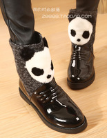 Japanned leather pleated nerong berber fleece panda head cartoon elevator medium-leg boots liner plus velvet boots
