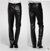 Winter waterproof male leather pants motorcycle thermal windproof leather pants lengthen plus size