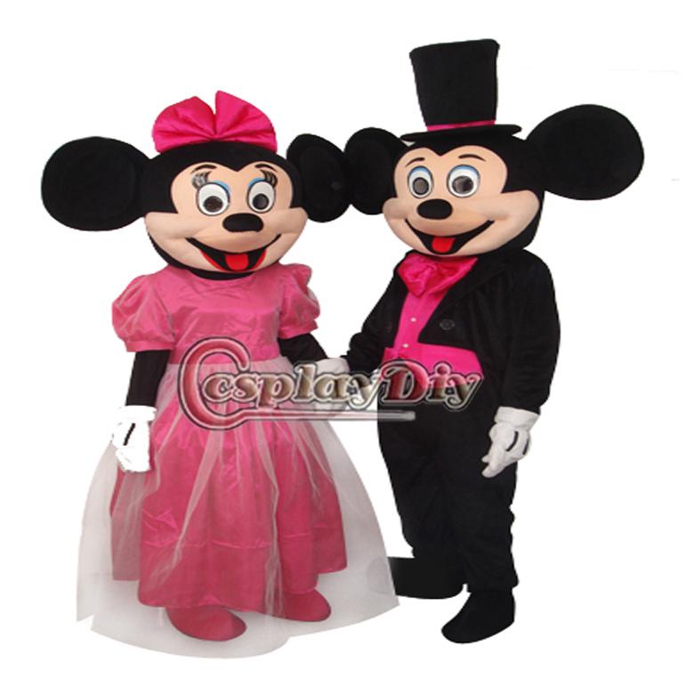 2013 Hot Sale Chegada Nova Natal Mickey & Minnie Mouse completa vestido 2pcs Casal Mascot Costume para adulto(China (Mainland))