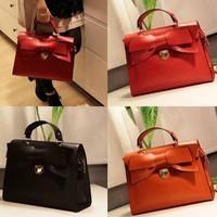 Sweet Red Bow Bride Totes Leather Handbag Designer Brand Desigual Women Shoulder Messenger Bags 2013 New Bolsas Femininas A30