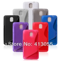 Hybrid TPU S Line stand transparent wave holder case For Samsung Galaxy Note3  N9000 new arrival cases20pcs